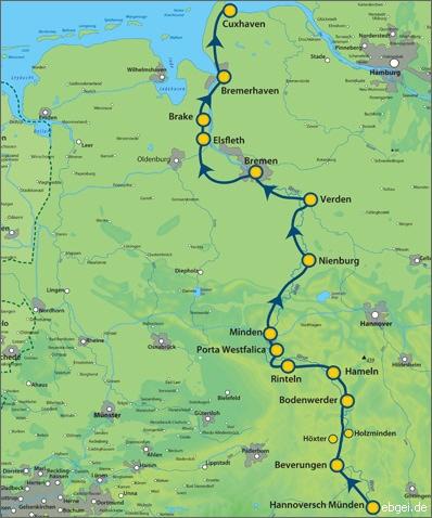 Weser Radweg Karte.Homepage Von E G Weser Radweg Tour Info